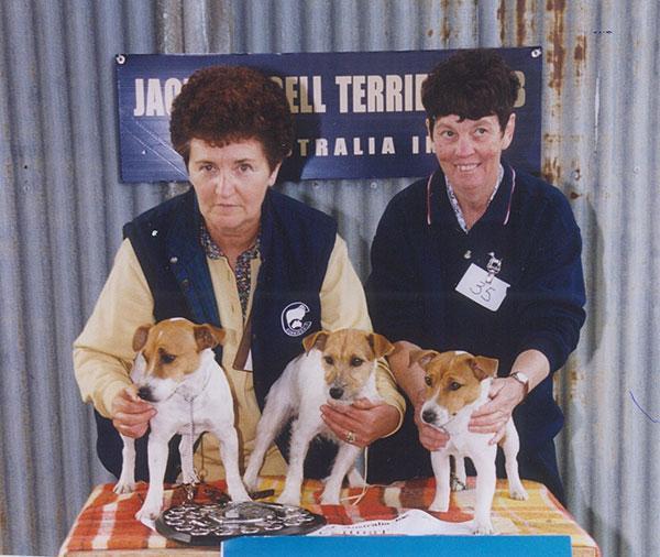Shirley Foster and Marg Harwood with best Progeny Melrae Stibby, Haven Park Kimberley, Killara Holly - 2001